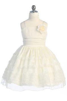 Off White Rosebud Detail Tulle Overlayed Lovely Flower Girl Dress A3489-OW