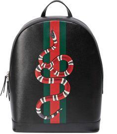 f1fbeed56d9624 Web and Kingsnake print leather backpack #bag #backpack #fashion #womens # gucci