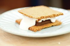 A classic s'more, made with homemade Graham crackers...recipe for the homemade graham crackers and other make-not-buys like kale chips