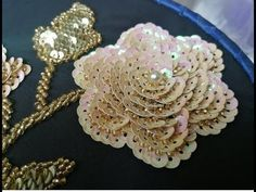 embroidery beautiful rose beads - YouTube Zardozi Embroidery, Tambour Embroidery, Hand Embroidery Videos, Hand Embroidery Flowers, Hand Work Embroidery, Embroidery On Clothes, Couture Embroidery, Bead Embroidery Tutorial, Bead Embroidery Patterns