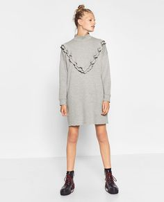 Image 1 of FRILL NECK DRESS from Zara