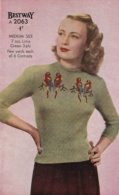 Vintage 1940s Sweater Pattern. With parrots. What?! Too sweet.