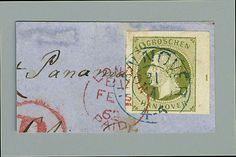 """Old German States Hanover, Michel 18. BOGENECKE OBEN RECHTS: 10 Gr. grün, rechte obere Bogenecke mit Reihenzahl """"1"""" im Seitenrand und ebenfalls breitem Randverlauf an den anderen Seiten, links auf voller Länge mit Ansatz der Nachbarmarke, auf Briefstück mit blauem K2 """"Hannover 31/1"""" (1862) und rotem """"London Paid"""" jeweils vollständig aufsitzend. Luxus-Qualität. Von einem über Panama gelaufenen Überseebrief stammend. Dies ist die höchste Nominale des Königreichs Hannover - Bogenecken davon…"""
