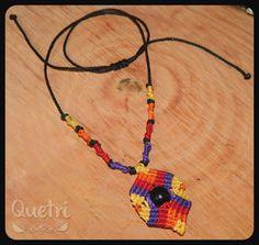 Collar macramé tonos atardecer, con semilla de asaí #macramé #collar #necklace #sunset #atardecer #asai