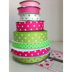 Lime and pink preppy spotty ribbon from tresdivin.com.au Cute Headbands, Pretty And Cute, Grosgrain Ribbon, Ribbons, Preppy, Planter Pots, Lime, Ideas, Bias Tape