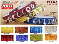 Cute Bling Leather Dog Collars - Small Cat Custom Collars with Chrome Name - USA | eBay