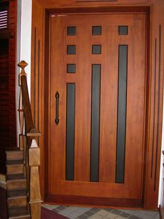 Custom Made Walnut Entry Door. Glass with river rocks inside ...