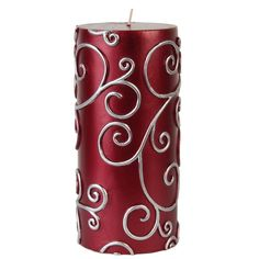 Jeco 3x6 Inch Scroll Pillar Candles (Pack of 12) (Red) (Paraffin Wax)