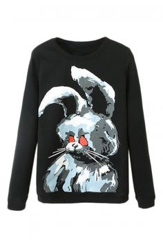 Buy Rabbit Print Black Sweatshirt from abaday.com, FREE shipping Worldwide - Fashion Clothing, Latest Street Fashion At Abaday.com