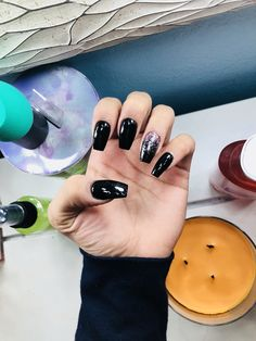 Black and pink glitter coffin nails