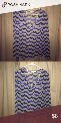 Blue and black chevron blouse Sheer blue and black chevron patterned blouse. Works great with a black or blue tank underneath Forever 21 Tops Blouses
