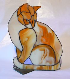 Butch Stained Glass Black and White Cat by jbls on Etsy