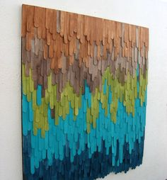 Wood Sculputre Wall Art Abstract Painting Home by ModernRusticArt - maybe painted tongue depressors?  Cool