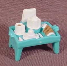 """Fisher Price Sweet Streets 2001 Turquoise Serving Tray, 1 1/2"""" Wide, 75420 Hotel"""