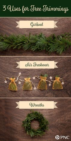 Make the most of tree trimmings with these DIY ideas. Using excess branches from a tree lot or bristles from your own tree, you can create natural garlands, wreaths and air fresheners that don't add to your holiday budget. Click to see more low-cost holiday ideas from PNC.