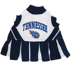 Get ready for some football! Show support for your favorite team with this adorable cheerleading uniform which features a screened-on city name and logo. Officially licensed by the NFL, the pleaded skirt has contrasting team colors and it has a front velcro-closure for easy on and off access.