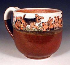 Hand Painted Pottery by Nan Hamilton, Airedale Dog Art in Boston MA Nine Airedale Mug