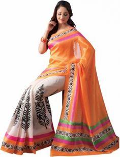 New fancy Orrange and White Color saree Designer uf130