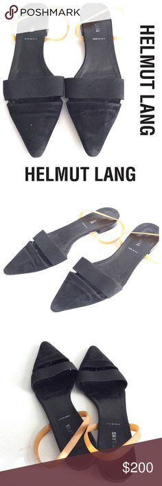 """Vintage HELMUT LANG 90s rubber strap flats shoe 39 HELMUT LANG 90s rubber stretch ankle strap black flats in a size 39. Super rare.. nice shape. See pics  footbed
