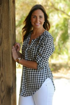 $34 SWEET HOME ALABAMA Black Houndstooth Top Shop Simply Me Boutique – www.SHOPSIMPLYME.com - FREE SHIPPING ALWAYS
