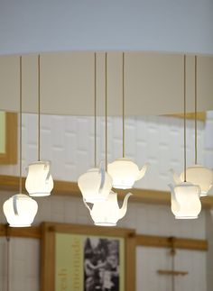 Buttercup Cake Shop by Design Clarity, London store design - Teapot lighting…