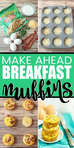 Easy Breakfast Muffins, Healthy Make Ahead Breakfast, Frozen Breakfast, Breakfast Bites, Breakfast Egg Muffins With Hashbrowns, Low Carb Egg Muffins, Breakfast Hash Browns, Healthy Egg Muffins, Quick Easy Breakfast