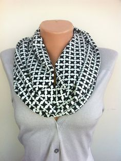 Black and White Scarf Black Infinity Scarf Women's by ScarfAngel, $19.00