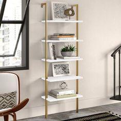 "Beachcrest Home Bowerbank 47.5"" H x 53.13"" W Standard Bookcase | Wayfair Solid Wood Shelves, Wood Floating Shelves, Metal Shelves, Open Shelving, Industrial Shelving, Etagere Bookcase, Ladder Bookcase, Bookcase Styling, Tabletop"
