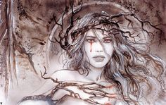 Mother Earth Sketch 1 by Luis Royo Russian Painting, Russian Art, Fantasy Wizard, Fantasy Art, Subway To Sally, Earth Sketch, Dark Paintings, Ink Addiction, Luis Royo