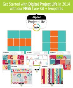 FREE Becky Higgins Digital Project Life downloads. If you've ever wanted to try Project Life, you can download these kits to get you started. Awesome deal!!!