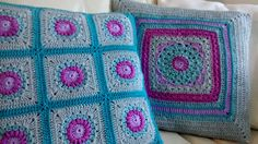 Crochet granny square cushions.