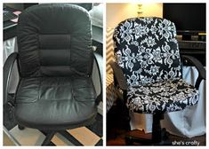 10 No Sew Home Decor Projects: office chair makeover Recover Office Chairs, Desk Chairs, Room Chairs, Dining Chairs, Furniture Projects, Diy Furniture, Furniture Reupholstery, Upholstered Furniture, Office Furniture
