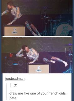 Andy from Fall Out Boy tryna be seductive