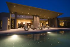 Top 12 Lighting Ideas For Your Backyard, Front Yard & Garden Luxurious and modern house with swimming pool at night. Swimming Pool Lights, Swimming Pools, Unique Lighting, Outdoor Lighting, Lighting Ideas, Backyard Lighting, Architecture Design, Beautiful Architecture, Pool At Night