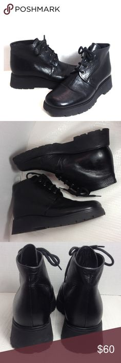 Buy one get one Free.. Lace up black leather ankle boots with thick heels in good condition. Italy size 39/8.5M worn a few times very cute boots Linea Loresi Shoes Lace Up Boots