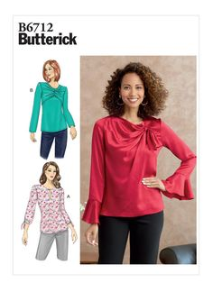 Sewing Pattern for Womens Tops Butterick Pattern Jumpsuit Pattern, Jacket Pattern, Top Pattern, Blouse Patterns, Sewing Patterns, Patron Butterick, Loose Fitting Tops, Fall Dresses, Blouses For Women