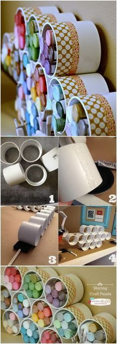 Room Organization & Storage Ideas Craft Paints Storage with PVC Pipes. Clever craft paints storage ideas with PVC pipes!Craft Paints Storage with PVC Pipes. Clever craft paints storage ideas with PVC pipes! Craft Room Storage, Craft Organization, Organizing Ideas, Arts And Crafts Storage, Craftroom Storage Ideas, Clever Storage Ideas, Pvc Pipe Storage, Smart Storage, Kids Storage