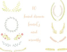 Set of 10 High Res Hand Drawn Laurel's Clip Art PNG by ElmStStudio, $4.00