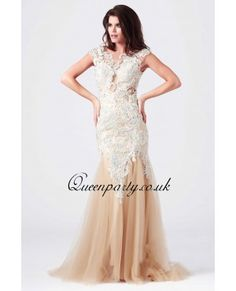 Embroidered Lace Cap Sleeve Mermaid Long Prom Dress With Open Back