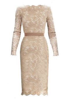 Rehearsal Dinner? SheInside Champagne Long Sleeve Floral Lace Scalloped Hem Dress, $39.90, available at SheInside.ide.