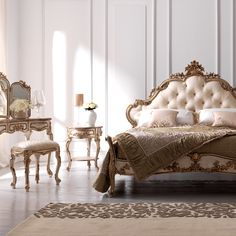 Luxury Ornate Carved Rococo Bed