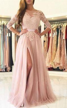 Elegant Half Sleeves Pink Tulle Long Lace Prom Dress with Slit Prom Dresses Long, Prom Dresses A-Line, Pink Prom Dresses, Prom Dresses, Lace Prom Dresses Prom Dresses 2020 Prom Dresses Long With Sleeves, Pink Prom Dresses, A Line Prom Dresses, Tulle Prom Dress, Prom Party Dresses, Bridesmaid Dresses Long Sleeve, Long Tulle Skirts, Sleeved Prom Dress, Wedding Dresses