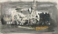✦ john piper - 'bettisfield church' - pen, ink, chalk and watercolour