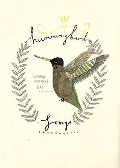 love the rustic look of this humingbird illustration
