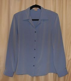 Soft blue Large L dressy blouse long sleeve silky washable poly Linea Donna #LineaDonna #Blouse #Career