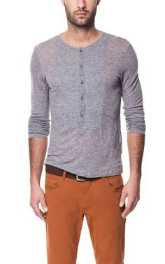Button Neck T-Shirt with Bib Front in Marl Grey from Zara (Canada) $39.90. Ref. 0722/404 70% Lyocell, 30% Wool