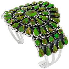 Sterling Silver Green Turquoise Bracelet