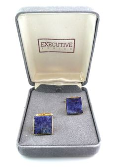 Vintage 1980s Modern Goldtone & Genuine Sodalite Square CUFFLINKS in Orig Box