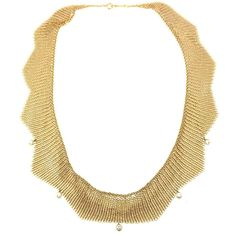 Tiffany & Co Elsa Peretti Diamond Yellow Gold Mesh Necklace | From a unique collection of vintage choker necklaces at http://www.1stdibs.com/jewelry/necklaces/choker-necklaces/