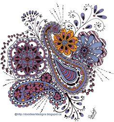 Paisley Flower Zen Doodle Art - This piece was colored using gel pens/markers.